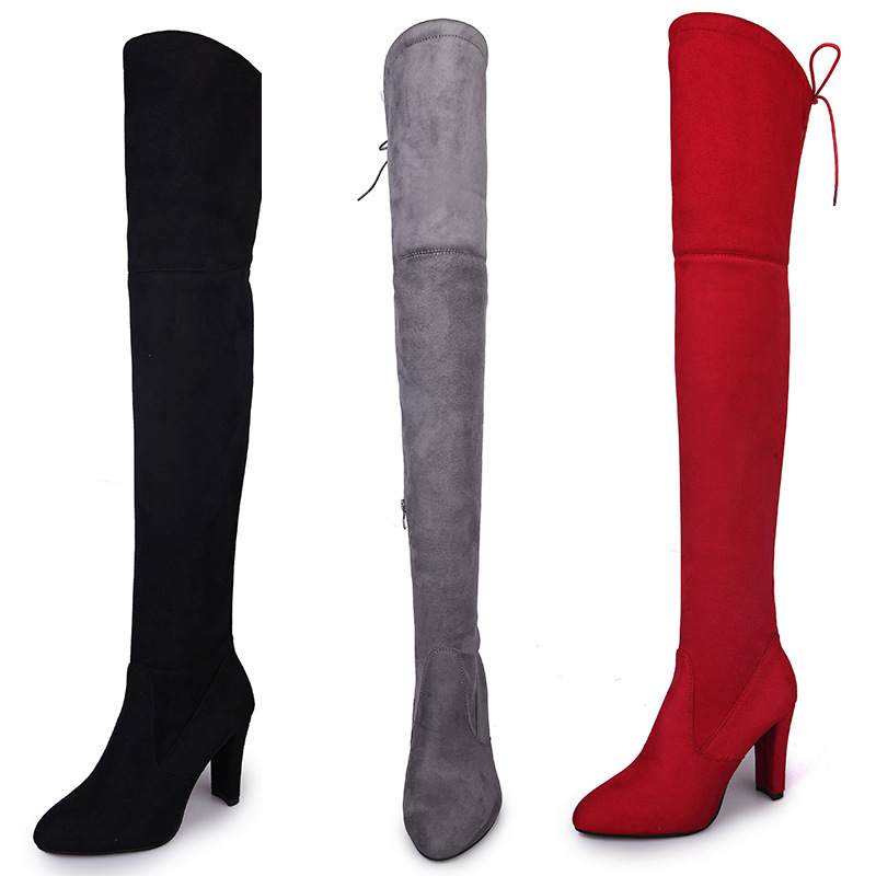 Big size Women Boots Sexy Knee High Boots High heels Winter Warm shoes Zipper botas feminina long boots lace up woman shoes stylesowner genuine leather mesh long heels boots women laces botas mesh see through sexy knee high long boots metal long shoes