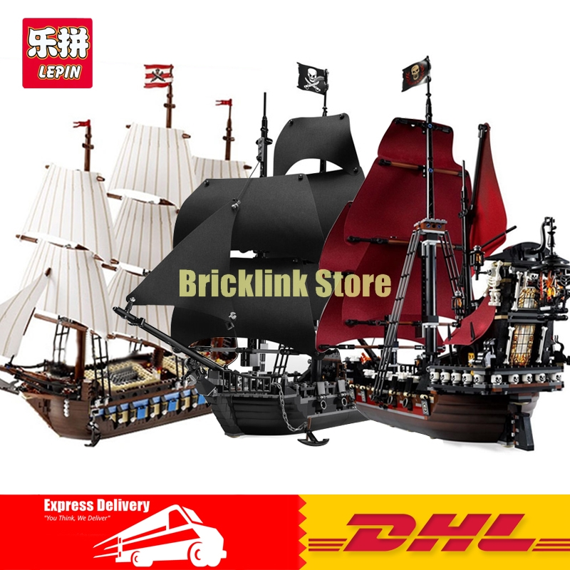 LEPIN 16006 The Black Pearl+16009 Imperial Warships+22001 Pirate Ship Imperial Warships Pirates of the Caribbean Building Blocks in stock new lepin 22001 pirate ship imperial warships model building kits block briks toys gift 1717pcs compatible10210