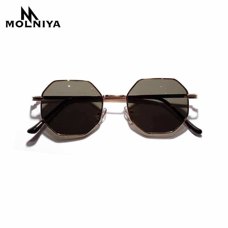 New Polygon Small Sunglasses Women Retro Round Metal Sun Glasses Men Brand Designer Hexagon Eyeglasses UV400