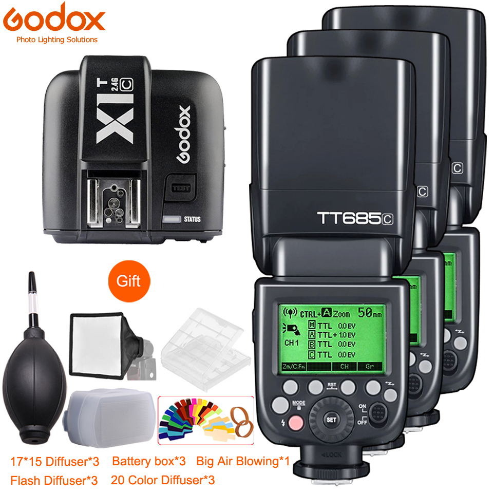 3x Godox TT685 TT685C TT685N TT685S TT685F TT685O 1/8000s TTL Flash Speedlite with X1T Trigger for Canon Nikon Sony Fuji Olympus3x Godox TT685 TT685C TT685N TT685S TT685F TT685O 1/8000s TTL Flash Speedlite with X1T Trigger for Canon Nikon Sony Fuji Olympus