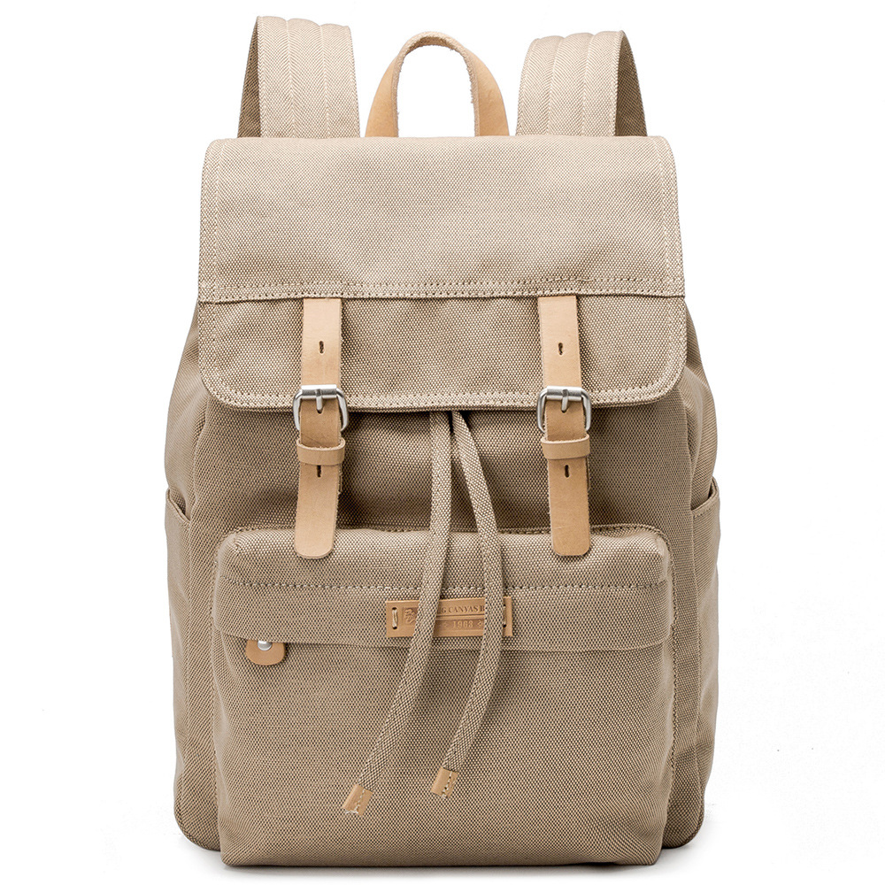 Canvas Backpack For Women Men Unisex Satchel School Bags Solid Beige Rucksack School Backpack Bags stylish metal and canvas design satchel for women