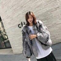 Silver Fox Fur Coat Women High Street Full Sleeve Natural Fur Coat Real Fur Jacket rf0316