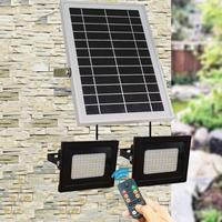 160 LED Double Head RC Waterproof Wall Solar Light Sensor Flood Light Spot Lamp Garden Outdoor Park Security Lamp Color Switch