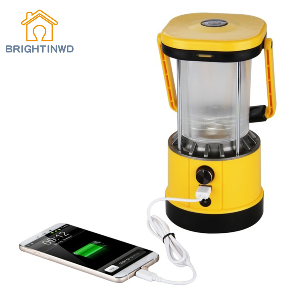 BRIGHTINWD Portable Lantern Solar Camping LED Lights USB Output for Cell Phone Charging Hiking with EU Plug Camping Light