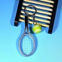 Мини-металлическая Теннисная ракетка ручной работы, сувенир, милая Теннисная ракетка, мяч, брелок для ключей, Спортивная цепь, брелок для автомобиля, велосипеда, новинка, подарок