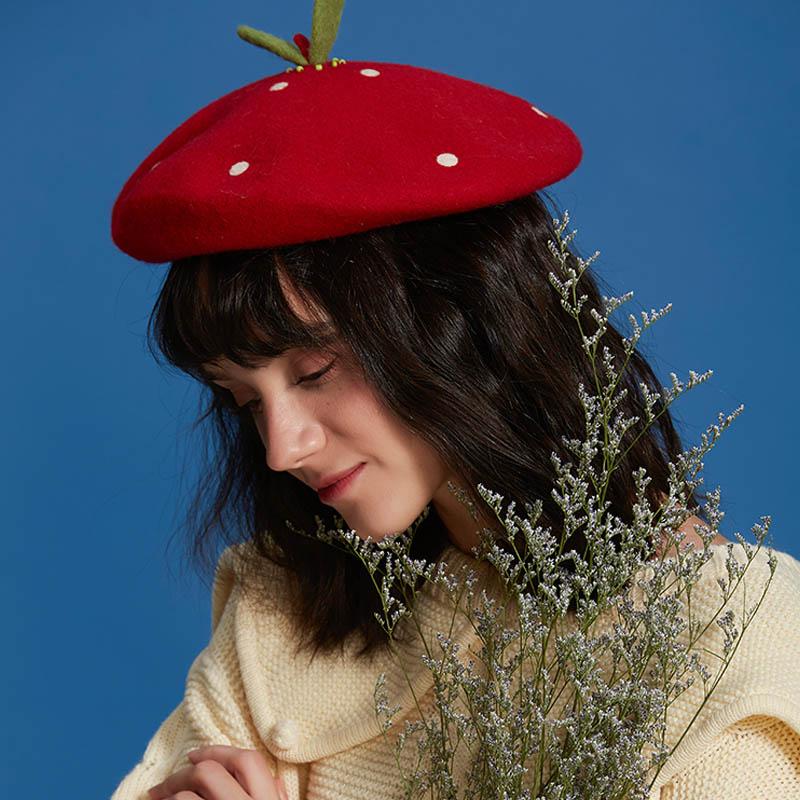 Cherryi Wool Beret Winter Hats for Women Flat Cap Knit 100/% Cashmere Hats Lady Girl Berets Hat