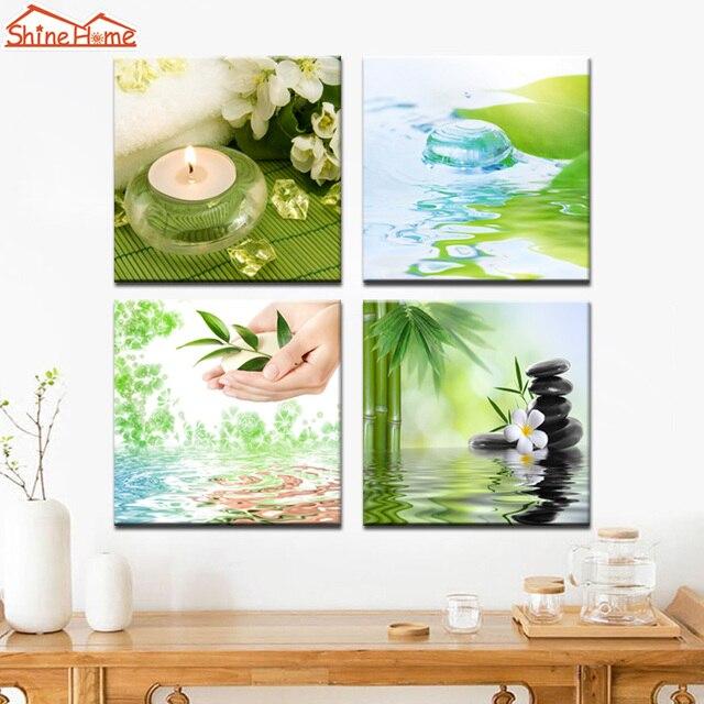 ShineHome 4pcs Canvas Prints Green Modular Wall Painting Spa Nail ...