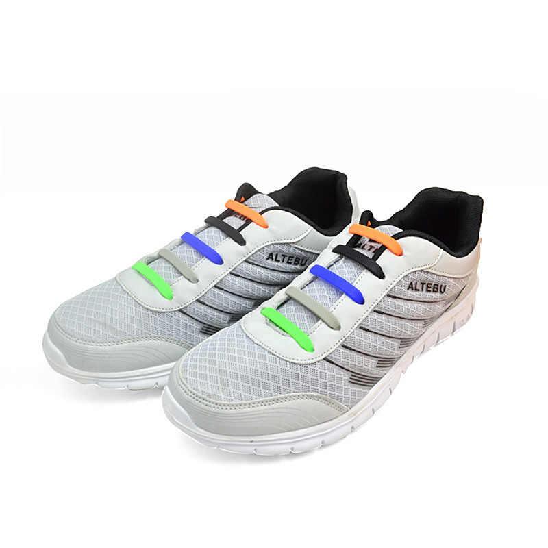 ซิลิโคน Shoelaces 16 ชิ้น/ล็อตสำหรับรองเท้าพิเศษไม่มี Tie Laces รองเท้าสำหรับสตรีชายเชือกผูกรองเท้า