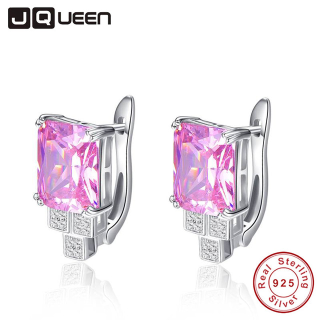 JQUEEN Genuine Big Gem Stud Earrings for Women Solid 925 Sterling Silver 19.6 ct Natural Pink Topaz Emerald Cut With Jewelry Box