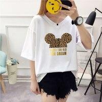 2019 новые летние Для женщин Милая футболка с Микки Маусом леопардовым принтом Футболка свободная повседневная женская обувь Harajuku Kawaii одежда