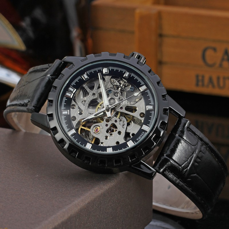 Fashion WINNER Men Luxury Brand Casual Skeleton Leather Band Watch Automatic Mechanical Wristwatches Gift Box Relogio Releg 2016 2016 winner watches women lady luxury brand skeleton automatic mechanical wristwatches artificial leather band relogio feminino