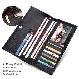 Image 3 - Laorentou erkek debriyaj cüzdan yumuşak inek deri kartlık iş erkek iki kat cüzdanlar uzun çanta iç fermuarlı cebi ile