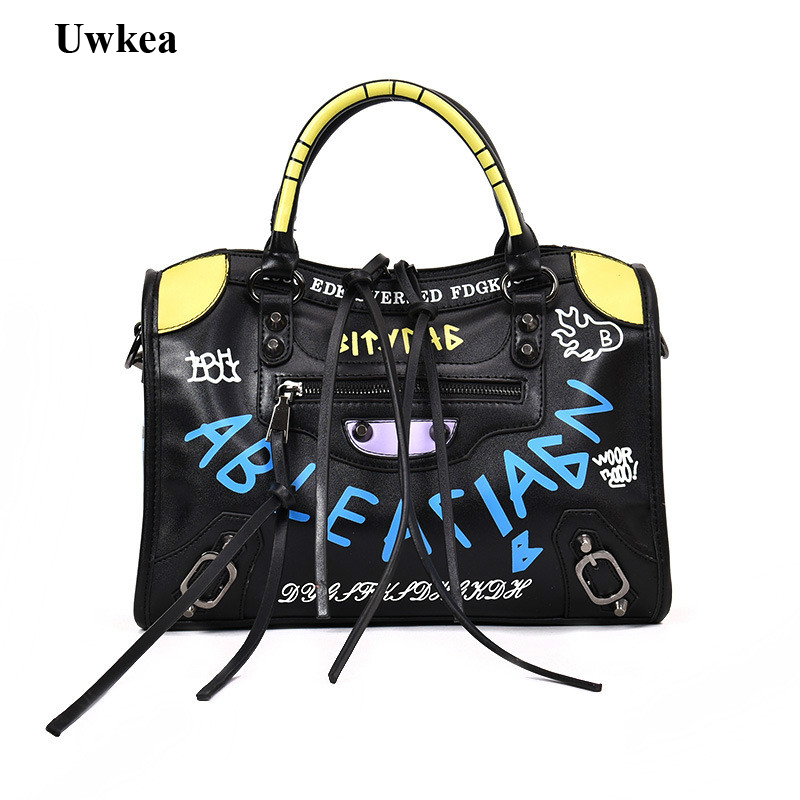 2018 New Hot Luxury Graffiti Handbags Women Bags Designer Zipper Letter PU Fashion Versatile Shoulder & Crossbody Bags Flap yanxi new 2016 new hot women patchwork good pu leather tote fashion versatile zipper handbags us dollar designer shoulder bags
