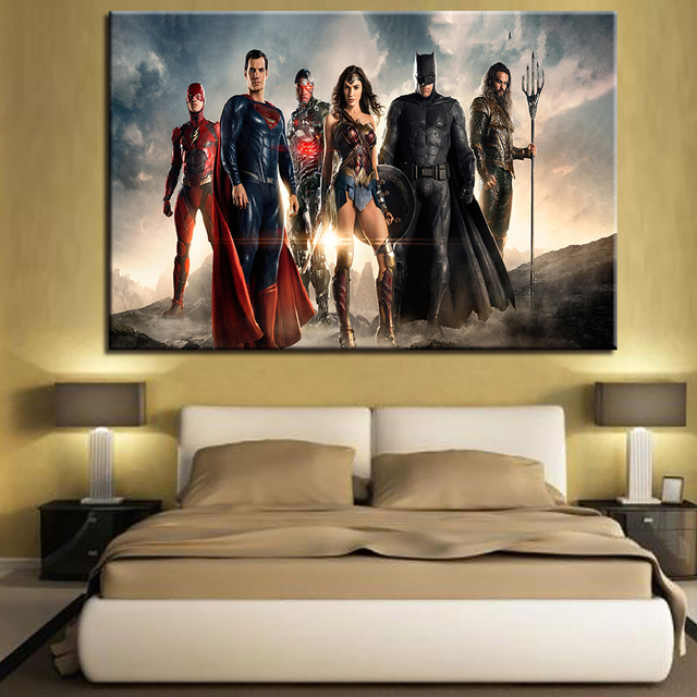 Canvas Wall Art Frame Home Decor Justice League Painting Picture 1 ...