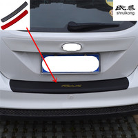1pc car sticker carbon fiber texture PU leather trunk door sill decorative cover for 2012 2017 FORD FOCUS 3 MK3 hatchback sedan