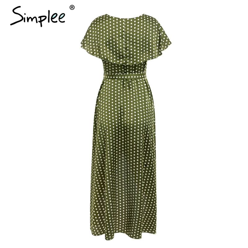 Simplee Vintage dots print satin women summer dress 19 Elegant v neck wrap sashes dresses Sexy female party long dress 12