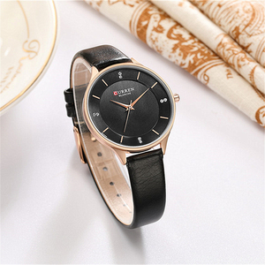 Image 4 - CURREN Brand Watch Women Fashion Leather Quatz Wristwatch For Womens Girls Diamond Dial 30M Waterproof Female Clock bayan saat