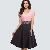 Women Summer Casual Short Sleeve Bodycon Party Dress Vintage Lace Patchwork Ladies Office Business Swing A