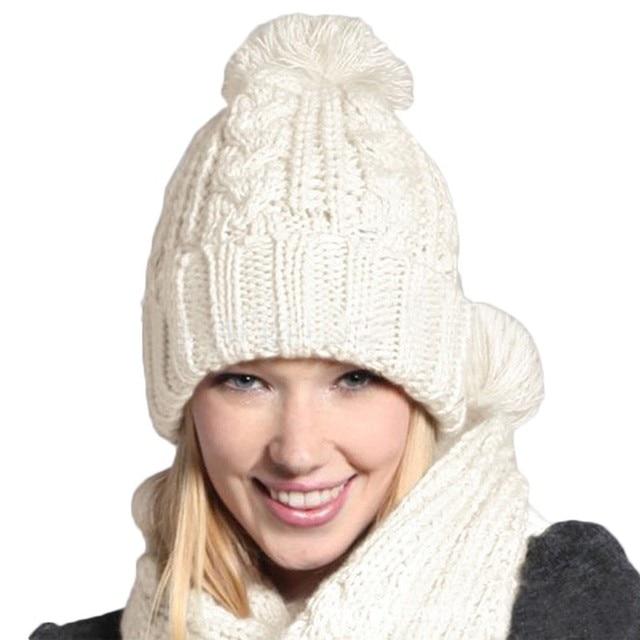 Inverno mais quente 2 em 1 Conjunto de Moda de Nova Mulheres Engrossar Conjunto cachecol Conjunto Chapéu de Malha de Tricô Meninas Coleiras Envoltório Skullcaps atacado