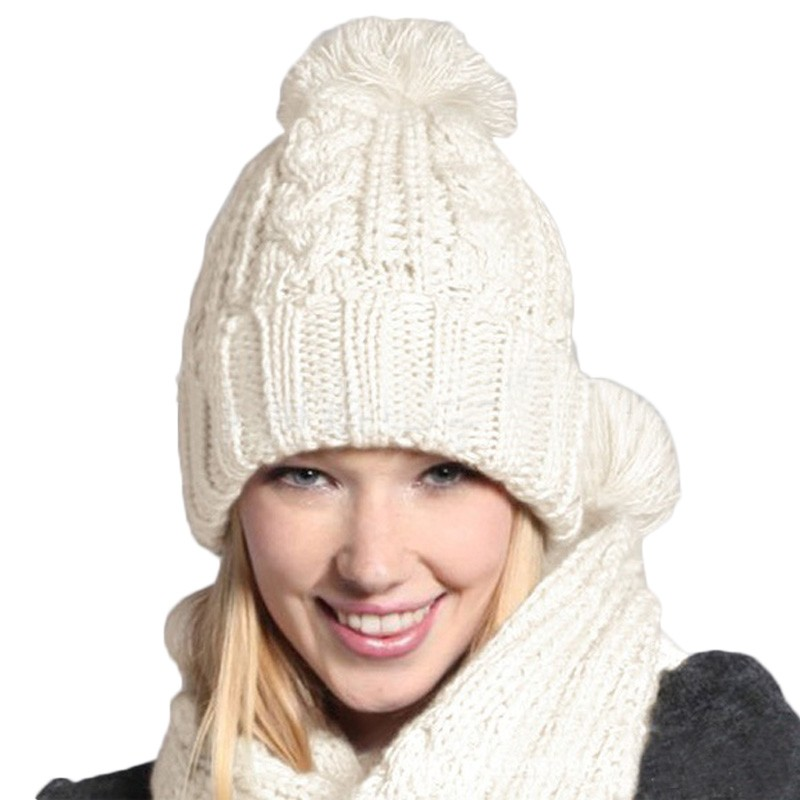 все цены на  Warmer Winter 2 in 1 Set New Fashion Women Thicken Scarf Set Wrap Hat Set Knitted Knitting Girls Collars Skullcaps Wholesale  онлайн