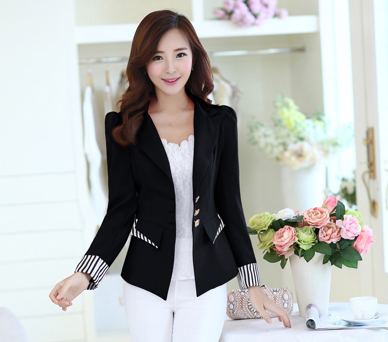 J63297 Fashion Blazer Office Lady Suit Long Sleeve Women Jacket Elegant Slim Blazers and Jackets