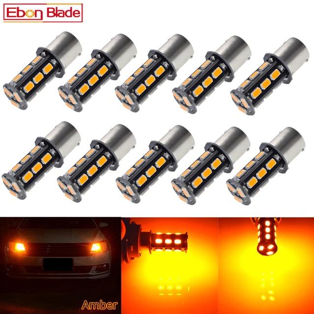 10Pcs BAU15S LED Auto Lights Bulbs 5630 18SMD Amber Orange PY21W RY10W Car Coche Voiture Lampada Turn Signal Light Bulb Lamp 12V