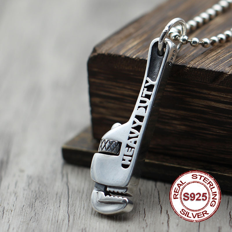 S925 sterling silver pendant jewelry Classic retro men's personality pendant Skeleton Wrench hand carved version Send lover's