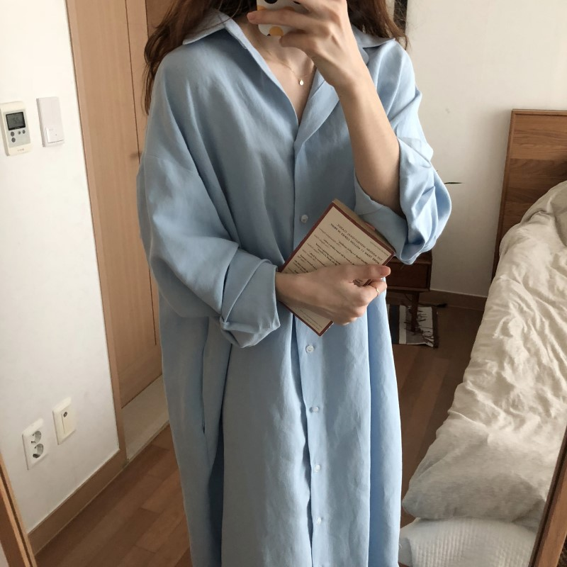 Blue Long Sleeve Long Shirt Dress Spring Casual Patchwork White cotton Dresses Collar Buttons Loose Dresses Robe Femme Vestido 31