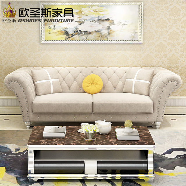 China 2017 Latest Design 7 Seater 3 2 1 1 Sofa Livingroom Furniture Post  Modern New Classical Soft Genuine Fabric Sofa Set W38FA