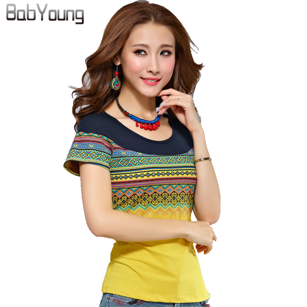 BabYoung 2019 Zomer Stijl Katoen T-shirts Femme Vrouwen T-shirts Moslim T-shirt Bohemen Vrouwen Tops Geel Wit Plus Size 4XL