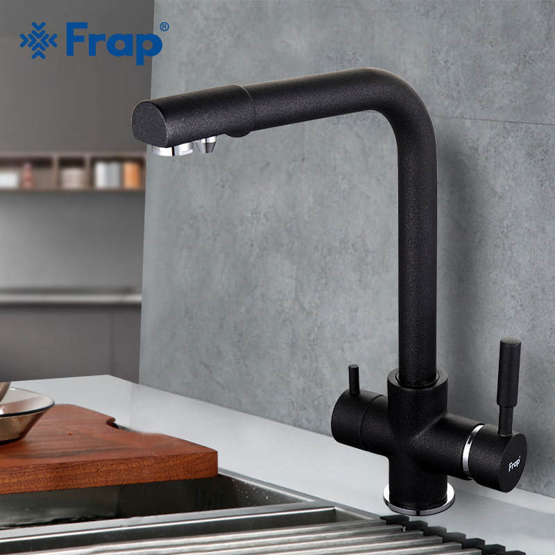 FRAP Kitchen Faucet kitchen sink faucet black drinking water faucet dual handle kitchen mixer faucet taps with filtered water