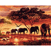Elephants Landscape DIY Digital Painting By Numbers Frameless Oil Wall Art Canvas Painting Unique Gift For