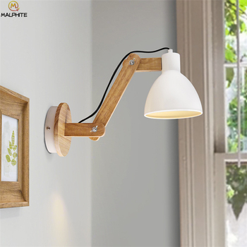Wood Telescopic Wall Light Adjustable Swing Arm Wall Lamp for Cafe Bedside Study luminaires Bedroom Decor Lighting Sconce