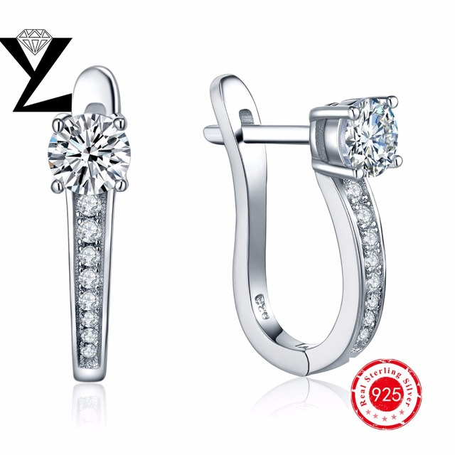 925 Silver Earrings Super Shiny Sparkling Crystal Cubic Zircon Hoop Earrings for Elegant Women Wedding Sterling-Silver-Jewelry