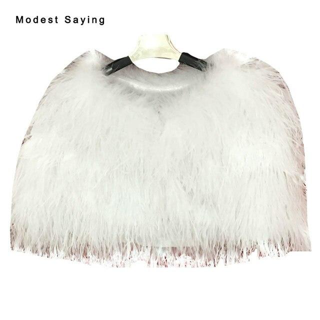 35ff707f3bd Elegant Luxury Ivory Ostrich Feather Wedding Fur Boleros 2017 Formal Bridal  Jackets for evening dresses Wedding Accessories YB9