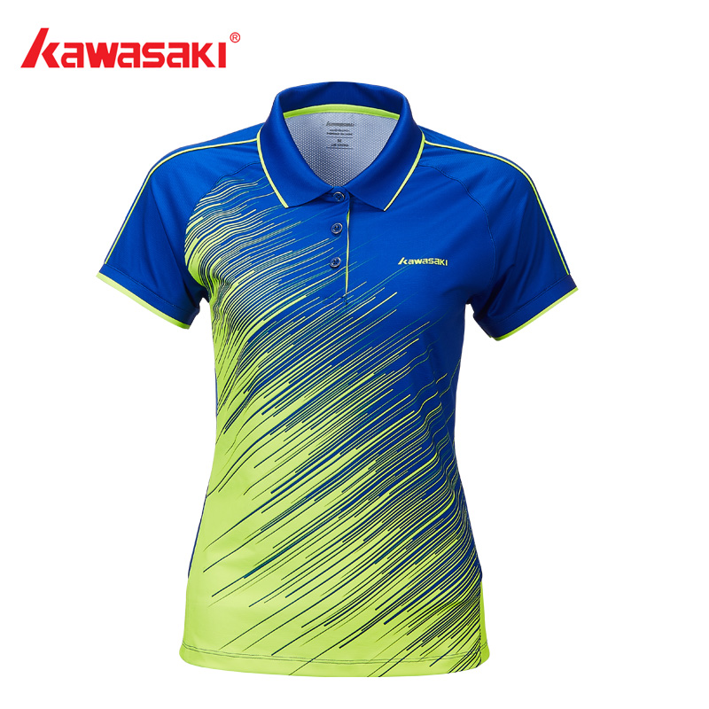 Kawasaki Women POLO Badminton T Shirts With Buttons Quick Dry V Neck for Female Tennis Running Jersey Sports Clothes ST-T2006