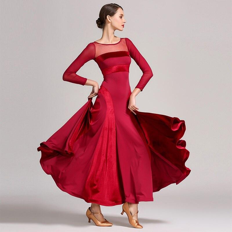 Lady Ballroom Dancing Dress High-quality Velvet Long-sleeved Morden Dance Costumes National Standard Dance Dress O Neck D0744