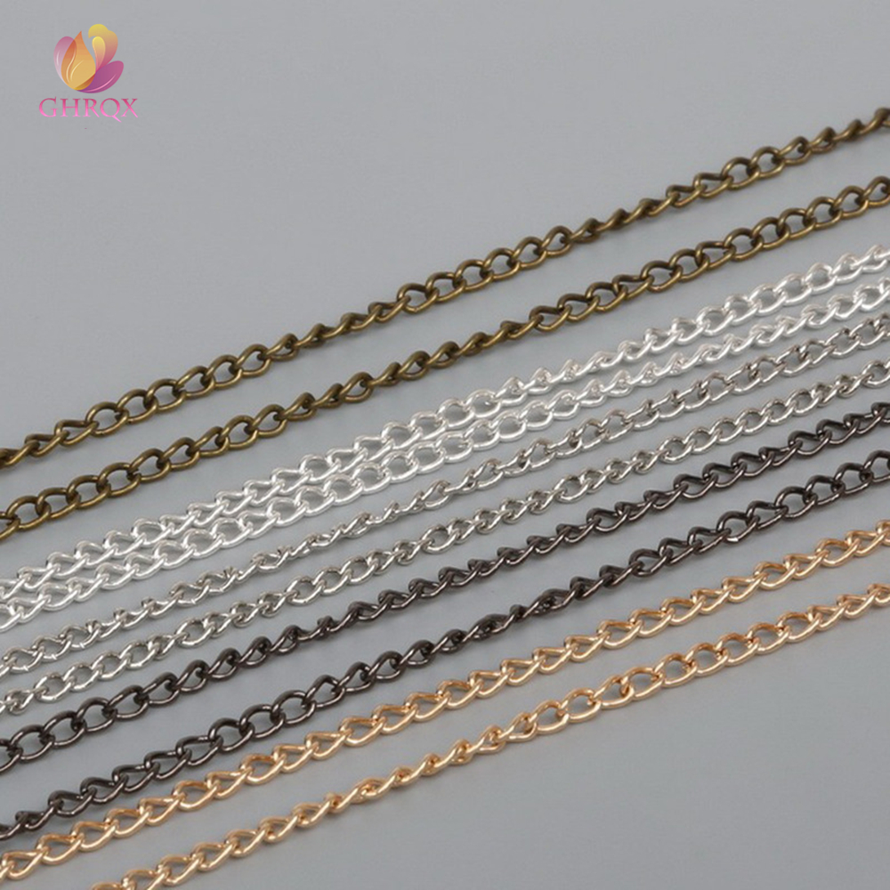 GHRQX HOT 2m 06(2mm) Gold /Sliver/ Bronze Chain Necklace Body Chain Makeing Chain For Jewelry Making DIY Material Findings