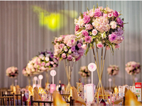 60cm Tall Gold metal flower vase Table centerpiece Wedding decoration 10pcs/lot