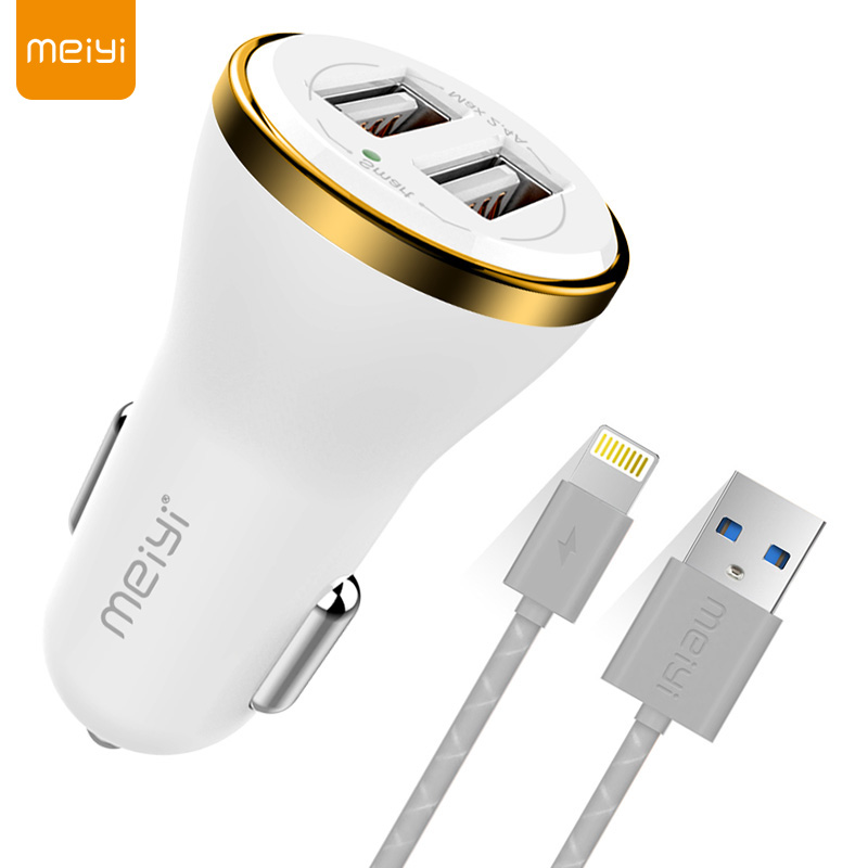 Open-Minded Meiyi 1m Usb Cable For Iphone 8 7 6 6s Plus 5s Se Ipad Fit For Ios 10 9 8 Pin Cable Car Charger 2.4a Max real Dual Usb Output Crazy Price