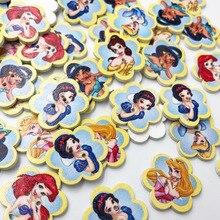50 шт. кукла принцессы мечты с принтом 28 мм флорер деревянные пуговицы 30 мм Botoes для детской одежды Скрапбукинг WB621