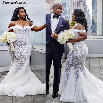 Off Shoulder Mermaid Lace Wedding Dresses 2021 Plus Size  Appliques Up Sweep Train African Bridal Gowns Robe De Mariee - discount item  20% OFF Wedding Dresses