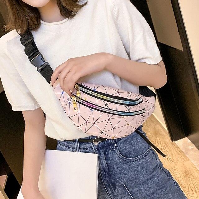 Новинка 2019 голографическая поясная сумка женская розовая Серебряная поясная сумка черный геометрический пакет лазерная нагрудная сумка для телефона iPhone X
