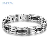 ZINDOV High Polished Stainless Steel Mens Bracelets Bangles Two Size Adjustable 20cm 22cm IP Black Classic