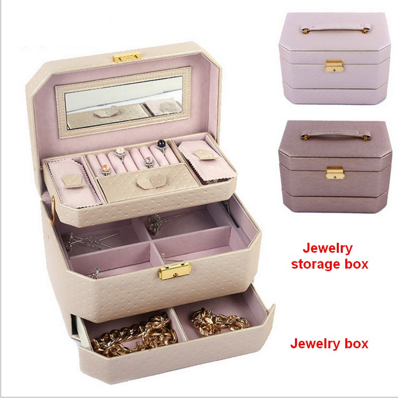 2017 Women Multi-function storage Cosmetic bags Box Jewelry Display Case Travel purse Wash Makeup Bag Beauty Case exquisite multi function metal storage box silver
