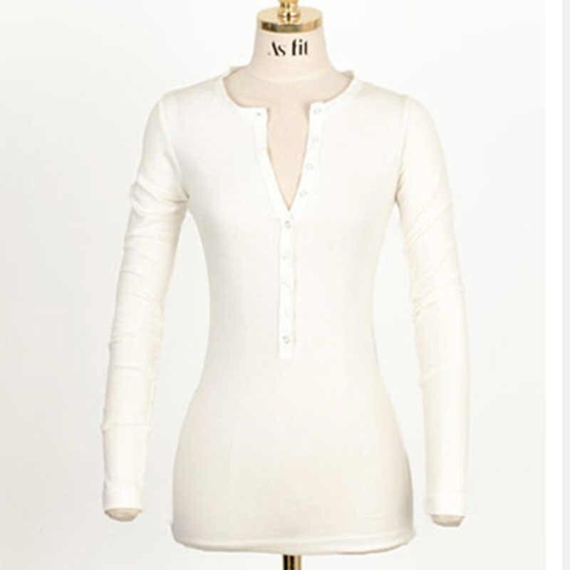 เซ็กซี่แขนยาว t เสื้อผู้หญิง tshirt casual v คอเสื้อยืดผู้หญิงเสื้อสีขาวเสื้อ tee femme poleras de mujer moda 2019