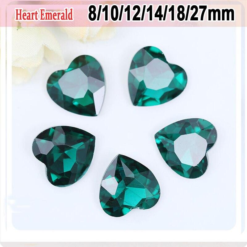 Forma de corazón strass circón verde caja del teléfono cristales Decoración  pointback Glitter pegamento en wate Diamantes con piedras falsas 49a22dcd3b3e