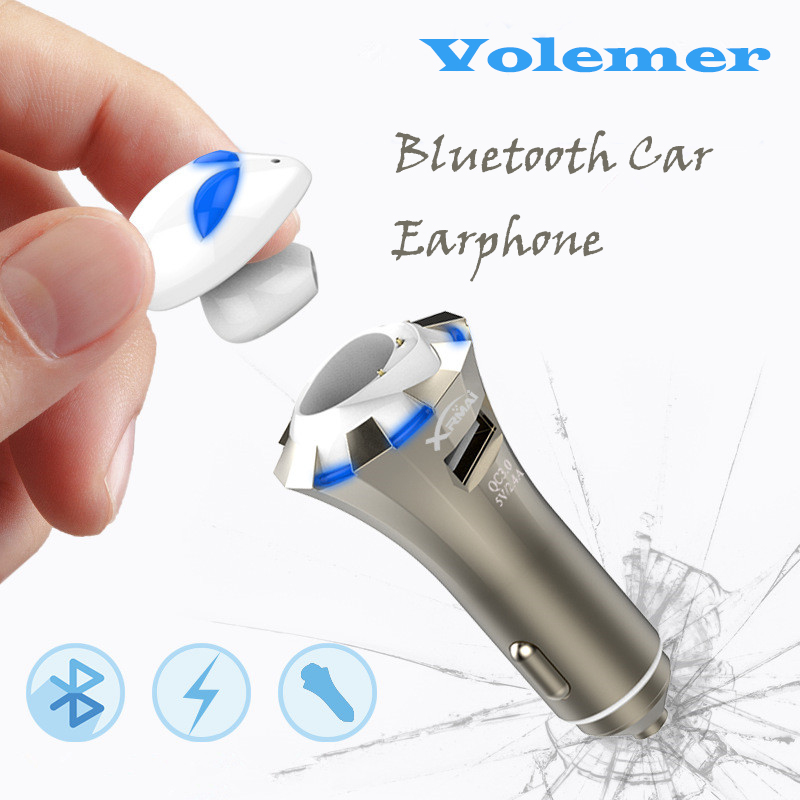 Newest 3 in Profession Car Bluetooth Headset A8 Alien BT4.0 LED Stereo Bluetooth Earphone Smart Car Charger Wireless Headphones remax 2 in1 mini bluetooth 4 0 headphones usb car charger dock wireless car headset bluetooth earphone for iphone 7 6s android