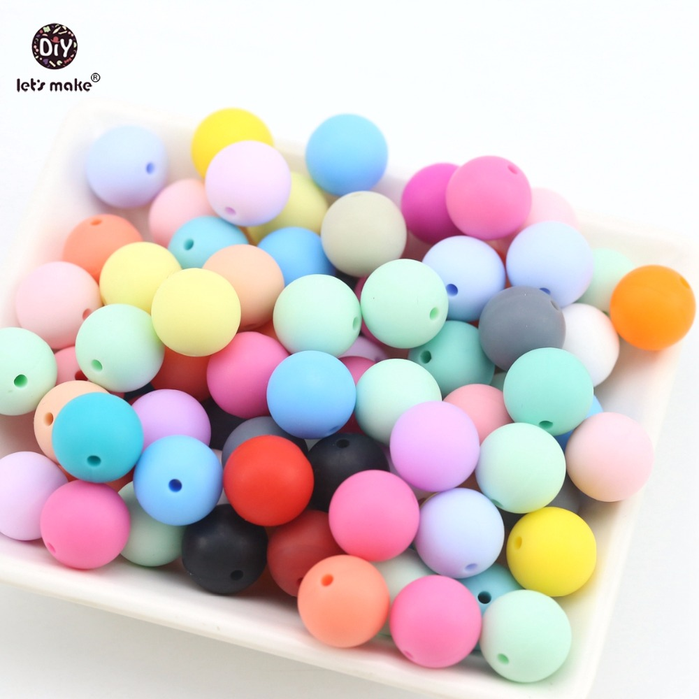 Let s make 500pc Silicone Beads Round Loose Teething Chew Jewelry Colorful Balls Sensory Kids ChewToys