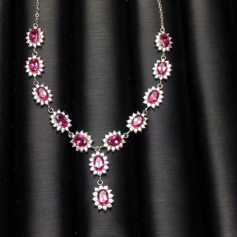 Natural pink topaz gem Necklace Natural Gemstone Pendant Necklace S925 sliver trendy Princess Diana women wedding gift JewelryNatural pink topaz gem Necklace Natural Gemstone Pendant Necklace S925 sliver trendy Princess Diana women wedding gift Jewelry